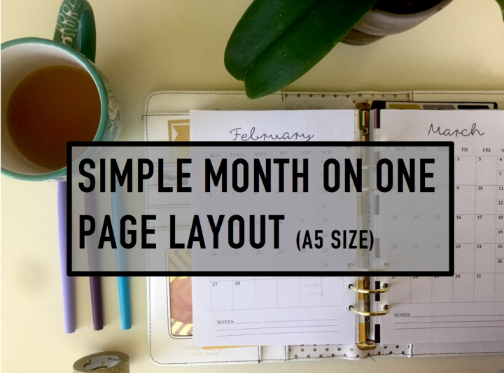 Simple month-on-one-page printable