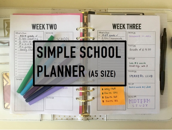 Simple school planner ( a5 printable)
