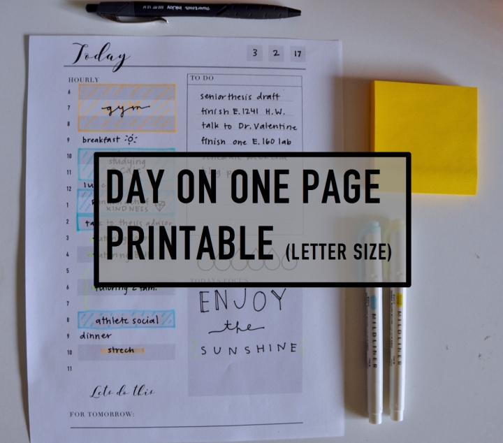 Day on one page free printable